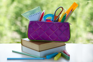School books, pencil case with school supplies on the background of green foliage, concept back to school