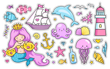 Mermaid and dolphin, sailing ship, jellyfish, octopus, sea shell, lighthouse, anchor and starfish. Set of cartoon stickers for kids. Doodle style.
