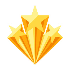 Gold prize icon with stars.