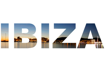 San Antonio Bay in the letters of IBIZA