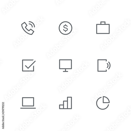 basic outline icon set telephone, dollar coin, briefcase, check computer diagram icons basic outline icon set telephone, dollar coin, briefcase, check mark, computer