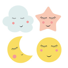 Cute Cloud, Star and Moon  Vector Illustration