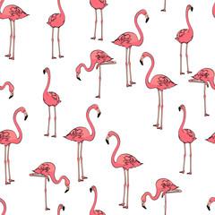 Seamless background, three pink flamingos on white. Vector