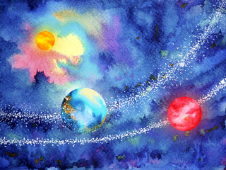 abstract art universe watercolor painting illustration design background hand drawn