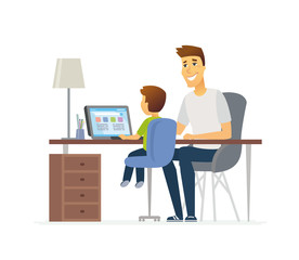 Father and son at the laptop - cartoon people characters illustration