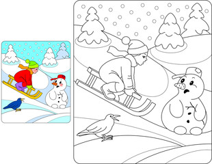 Snowman with boy sleigh and rook
