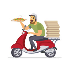 Delivery man - cartoon people characters isolated illustration
