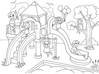 Childrens playground coloring. Raster illustration of black and white