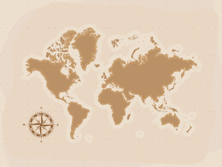 Brown Retro World Map with compass, Flat vector illustration EPS10