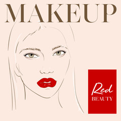 Beautiful woman face with makeup and red lips hand drawn vector illustration. Stylish original graphics portrait with beautiful young girl model. Fashion, style, beauty. Graphic, sketch drawing