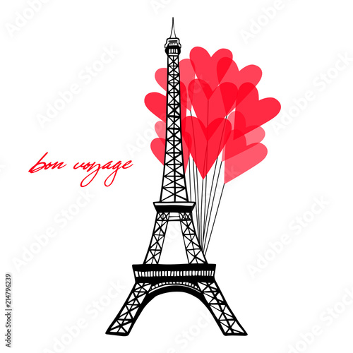 Eiffel Tower And Red Cute Heart Balloons Text Bon Voyage In Paris Themed Template Vector Ilration Hand Drawn Famous French Landmark