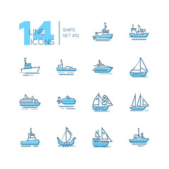 Water transport - thin line design icons set