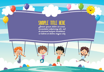 Vector Illustration Of Kids Holding Placard