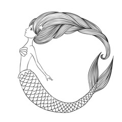 Hand drawn linear cute girl Mermaid for coloring book.