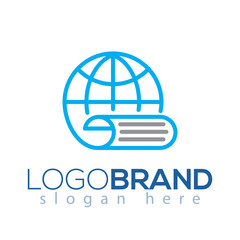 Globe paper logo vector element. globe paper logo template