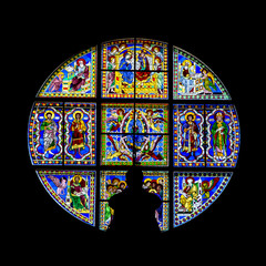Stained glass window inside the Cathedral of Santa Maria Assunta, Siena Italy