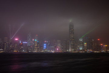 Night view of Building and the skyline of Victoria Harbor