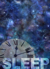Awake past 12 Insomnia Background - dark night sky background with a semi transparent roman numerals clock showing past midnight and the word SLEEP beneath with copy space above