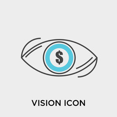 Vision icon vector sign and symbol isolated on white background, Vision logo concept