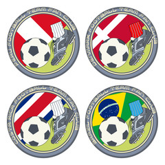 Soccer Fan Logo vol.6. Vector illustration of a color logo for football fans of teams from Peru, Denmark, Costa Rica and Brazil.