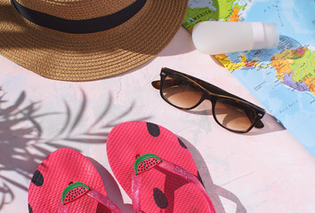 01761c1ba798e Summer season Travel concept Holiday Adventure Flay lay Flip flops Straw  hat Sunscreen Sunglasses World map
