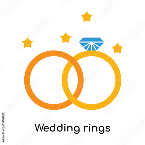 Wedding Rings Icon Vector Sign And Symbol Isolated On White