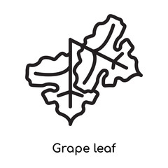 Grape leaf icon vector sign and symbol isolated on white background, Grape leaf logo concept
