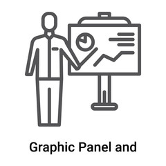 Graphic Panel and Man icon vector sign and symbol isolated on white background, Graphic Panel and Man logo concept