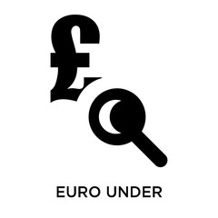 Euro under magnifier icon vector sign and symbol isolated on white background, Euro under magnifier logo concept