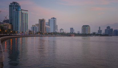 Sunset view of Sharjah lagoon. Sharjah UAE.