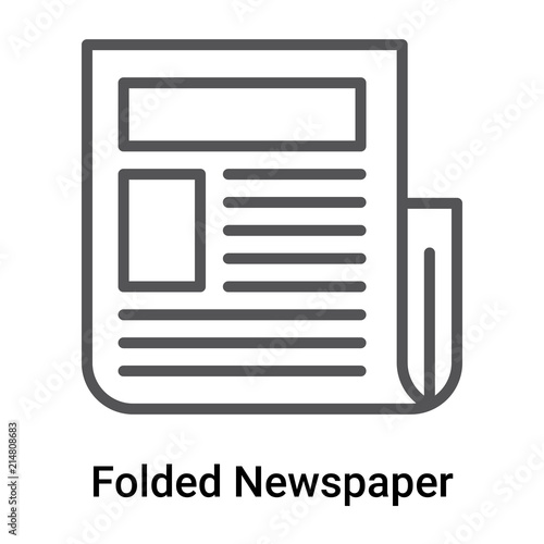folded newspaper icon vector sign and symbol isolated on white