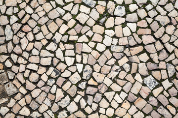 Stony Pattern in Lisbon, Portugal / Natural distinct cobblestones pavement detail, view from above