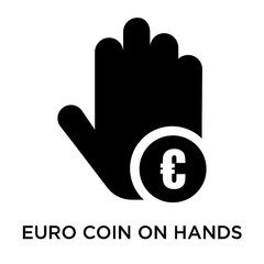 Euro coin on hands icon vector sign and symbol isolated on white background, Euro coin on hands logo concept