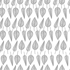 Vector illustration of autumn leaves seamless pattern. Floral organic background. Print for textile