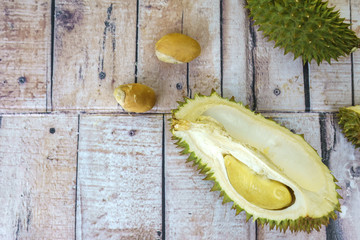 Durian on wooden table.