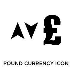 Pound currency sign with up and down arrows icon vector sign and symbol isolated on white background, Pound currency sign with up and down arrows logo concept