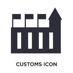 Customs icon vector sign and symbol isolated on white background, Customs logo concept