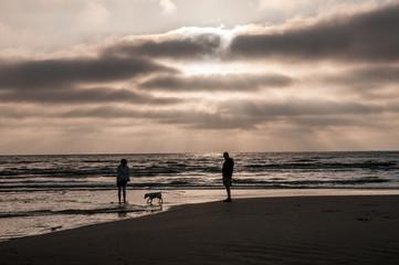 Paar spaziert mit  ihrem Hund nach dem Sonnenuntergang an der Nordsee
