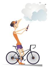 Cyclist man wins the race isolated illustration. Cyclist celebrates a win and opens a bottle of champagne isolated on white illustration