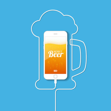 A smartphone with a wire forming a silhouette of a mug of beer. On the screen of the phone is a light beer with bubbles and foam. Mobile beer. Vector illustration.