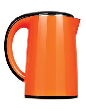 Orange kettle isolated on white. Vector 3d illustration