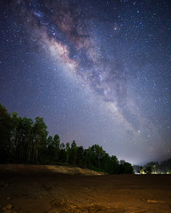 Starry night sky with stars and Milky Way Galaxy. soft focus and noise due to long expose and high iso.