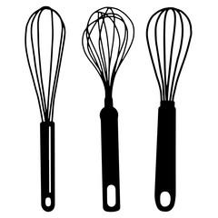 Hand drawn whisk kitchen utensil. Egg beater illustration