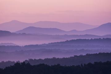 Fog at sunrise in Blue Ridge Mountains