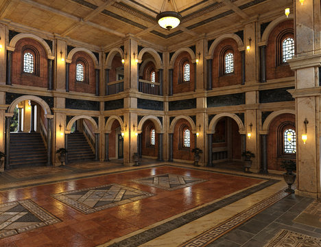 3d render of a luxury palace interior decorated with black and golden marble