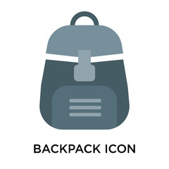 Backpack icon vector sign and symbol isolated on white background, Backpack logo concept