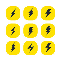 set of the bolts of lightning. Vector minimalistic flash icons. Thunder elements. Flat design.