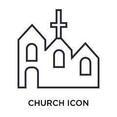 Church icon vector sign and symbol isolated on white background, Church logo concept
