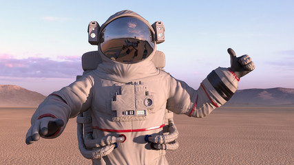 Astronaut giving thumbs up with reflection of mars rover on his helmet, cosmonaut on a deserted planet, 3D rendering