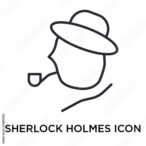 331573dd1 Sherlock holmes icon vector sign and symbol isolated on white ...
